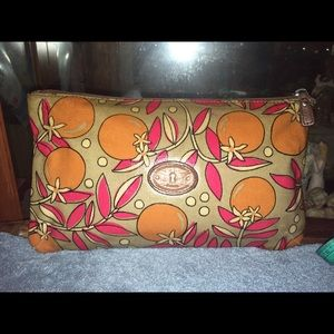Fossil Canvas Coated Orange Cosmetic Bag